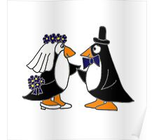 Awesome Penguin Bride and Groom Art Original Poster