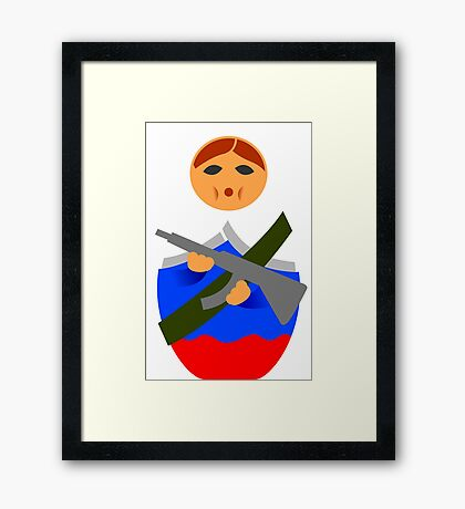 Matryoshka with machine gun Framed Print