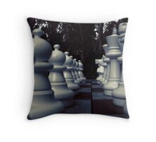 Your Move - White Chess Pieces Throw Pillow
