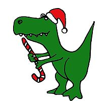 Cool Funky Christmas Green T-Rex Dinosaur in Santa Hat  by naturesfancy