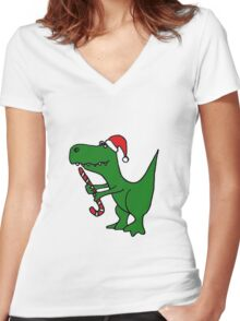 Cool Funky Christmas Green T-Rex Dinosaur in Santa Hat  Women's Fitted V-Neck T-Shirt