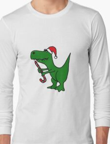 Cool Funky Christmas Green T-Rex Dinosaur in Santa Hat  Long Sleeve T-Shirt