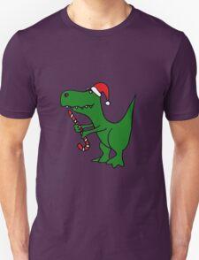 Cool Funky Christmas Green T-Rex Dinosaur in Santa Hat  T-Shirt