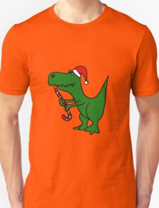 Cool Funky Christmas Green T-Rex Dinosaur in Santa Hat  T-Shirt