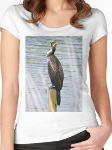 Perching Cormorant Women's Fitted Scoop T-Shirt