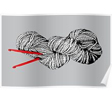 Gray skein and red hooks Poster