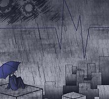 Blue City in the Rain by Liiadragon7