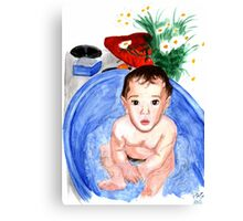 Baby in bath watercolours painting Canvas Print