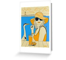 On The Beach - Long Drink, acrylic painting Greeting Card
