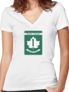 Manitoba, Trans-Canada Highway Sign Women's Fitted V-Neck T-Shirt