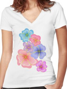 Pretty pastel flower drawing in pink, lilac and blues Women's Fitted V-Neck T-Shirt