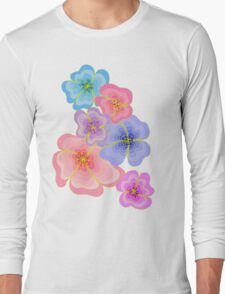Pretty pastel flower drawing in pink, lilac and blues Long Sleeve T-Shirt