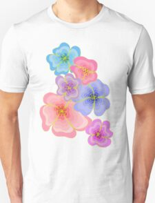 Pretty pastel flower drawing in pink, lilac and blues Unisex T-Shirt