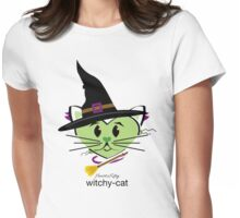 HeartKitty Witchy-Cat Womens Fitted T-Shirt