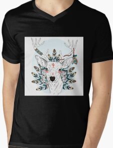 Deer with feathers Mens V-Neck T-Shirt