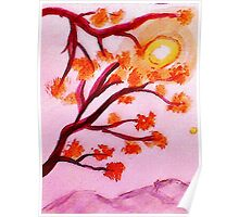 Cherry tree blooms,  watercolor Poster