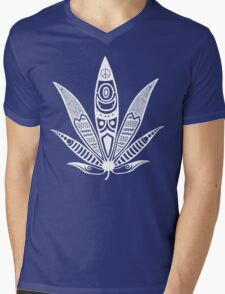 white psychedelic ganja  Mens V-Neck T-Shirt