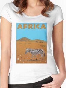 Landscape with Zebra Women's Fitted Scoop T-Shirt