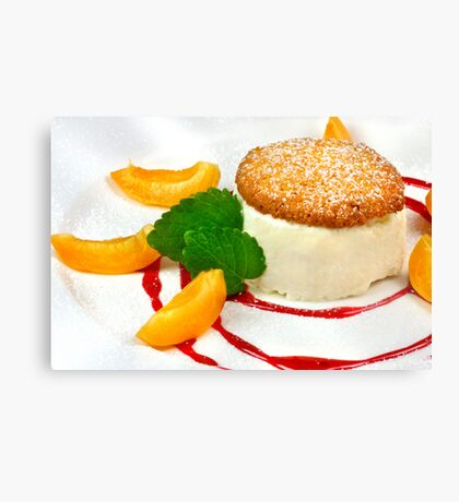 Honey Semifreddo With Almond Biscotti Canvas Print