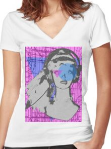 Pop girl goes to geometry class  Women's Fitted V-Neck T-Shirt