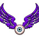 Puple FLYING EYEBALL by Tony  Bazidlo