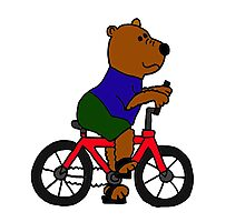 Funky Brown Bear Riding a Red Bicycle Photographic Print