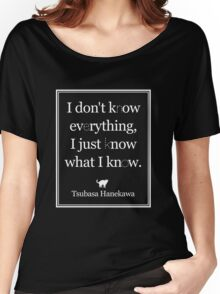 Monogatari - Hanekawa - Know what I know (White) Women's Relaxed Fit T-Shirt