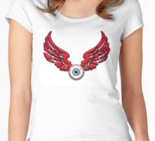 Flying Eyeball Red wings Women's Fitted Scoop T-Shirt