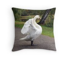 Mute swan stretching its wings Throw Pillow