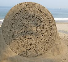 Aztec Calendar - artwork made with sand by Bernhard Matejka