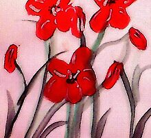 Red flowers, (bamboo brush),  watercolor by Anna  Lewis, blind artist