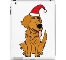 Cool Funky Golden Retriever Dog in Santa Hat Christmas Art iPad Case/Skin