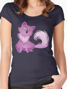 Pink Monster Cat For Halloween Women's Fitted Scoop T-Shirt