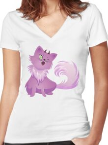 Pink Monster Cat For Halloween Women's Fitted V-Neck T-Shirt