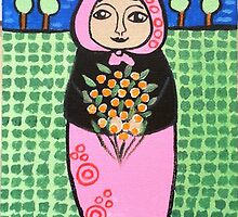 Babushka with marigolds by Lorraine Stylianou