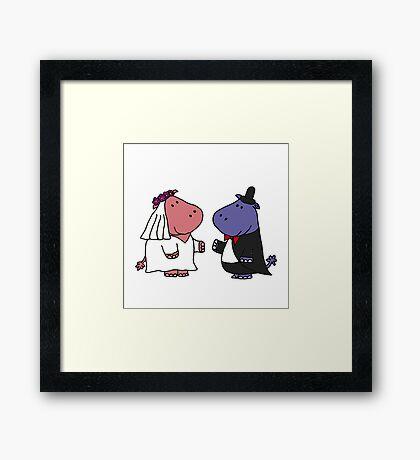 Funny Bride and Groom Hippo Wedding Original Art Framed Print
