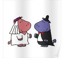 Funny Bride and Groom Hippo Wedding Original Art Poster