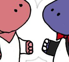 Funny Bride and Groom Hippo Wedding Original Art Sticker