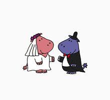 Funny Bride and Groom Hippo Wedding Original Art Unisex T-Shirt