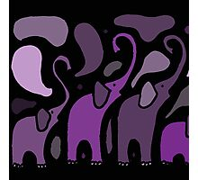 Awesome Purple Abstract Art Elephants Original Art Photographic Print