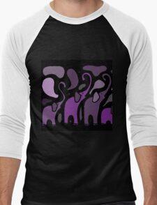Awesome Purple Abstract Art Elephants Original Art Men's Baseball ¾ T-Shirt
