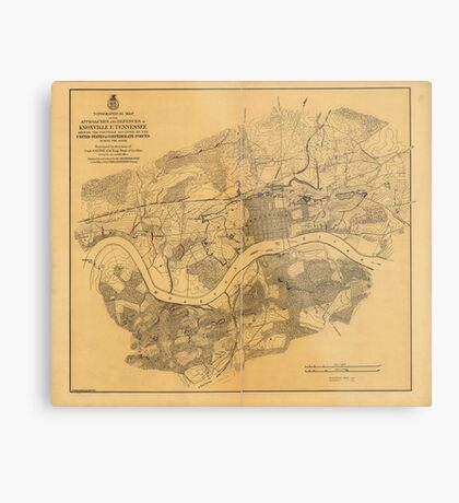 Civil War Knoxville Tennessee Map (1864) Metal Print