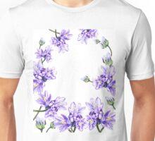 Purple Flowers Botanical Swirl Unisex T-Shirt