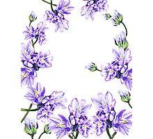 Purple Flowers Botanical Swirl Photographic Print