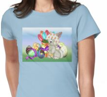 Bunny with lots of chocolate eggs Womens Fitted T-Shirt