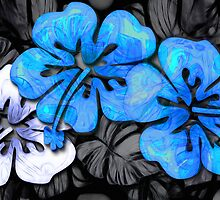 Foliage Hibiscus - Blue in Darkness by DreaMground