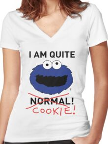 COOKIE MONSTER (BLACK TEXT) Women's Fitted V-Neck T-Shirt