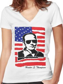 Hunter S Thompson. Drugs, alcohol, violence and insanity Women's Fitted V-Neck T-Shirt