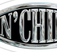 Fish & Chips Atheist Logo Chrome Silver Sticker Sticker