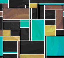 Mondrian Teal Brown Black  by ImagineThatNYC
